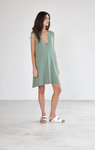 Deep V Neck Jersey Swing Dress - Aloe Green