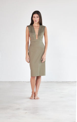 Overall Dress - Army Green