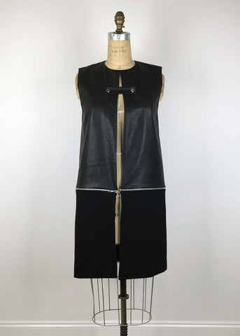 Leather Contrast Zip Moto Vest - Black