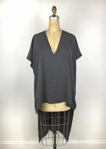 Deep V Neck Tunic - Slate Grey