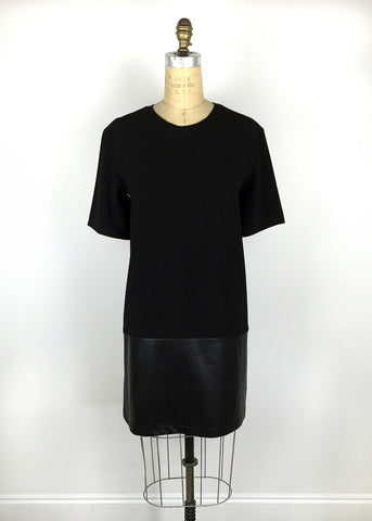 Leather Contrast TShirt Dress - Black