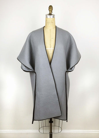 Wool & Leather Trim Cape - Mist Grey