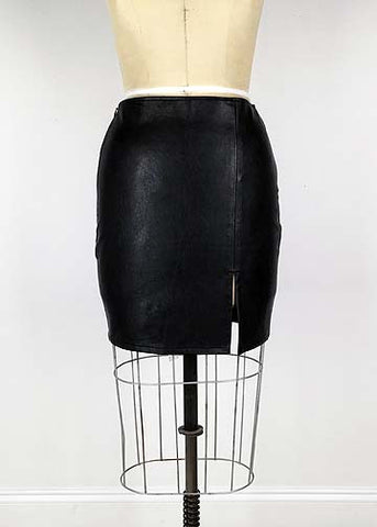 Leather Slit Mini Skirt - Black