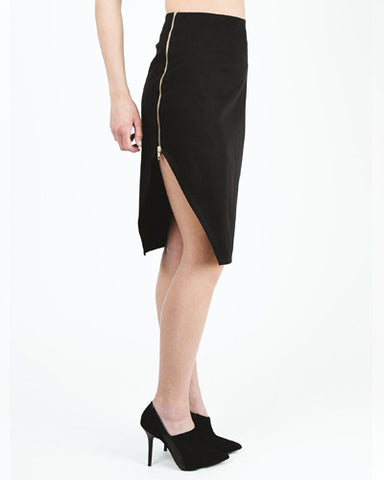 Peekaboo Assymetrical Slit Pencil Skirt - Black
