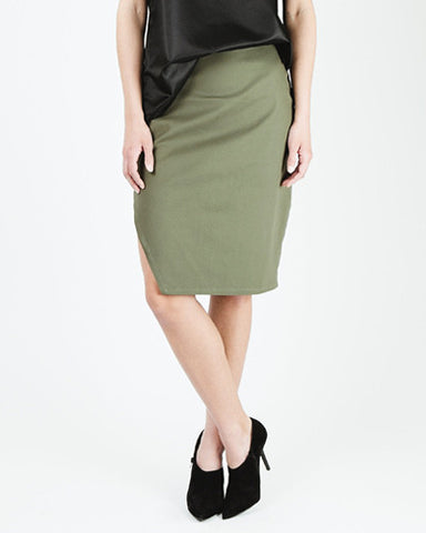 Peekaboo Assymetrical Slit Pencil Skirt - Green