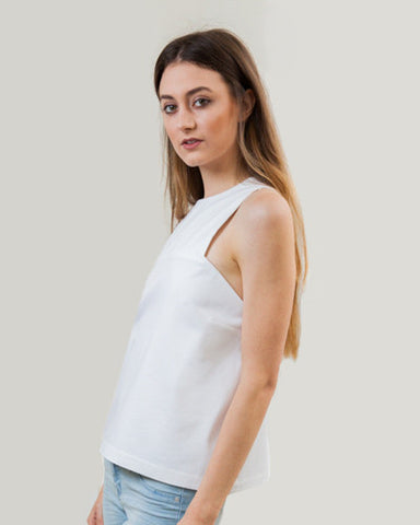 White Structured Bib Top