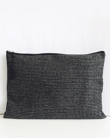 Oversize Editor Clutch - Black & Silver