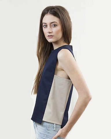 Navy Color Block Panel Top