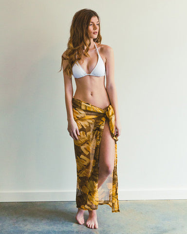 Yellow Palm Print Sarong