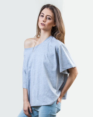 Oversized Slub Tee - Heather Grey