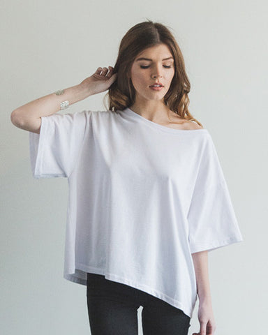 Oversized Slub Tee - White