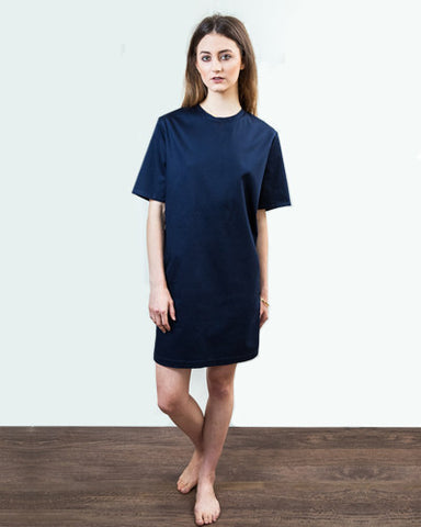 Navy Structured T Shirt Dress