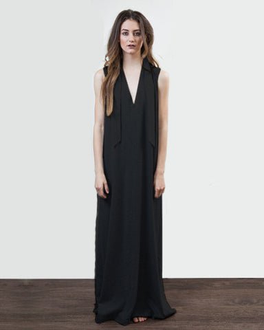 V Neck Jersey Maxi Dress - Black
