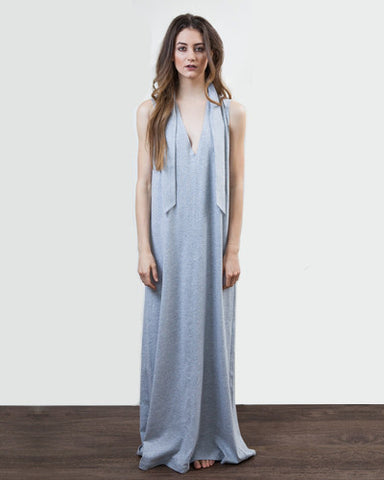 V Neck Jersey Maxi Dress - Heather Grey