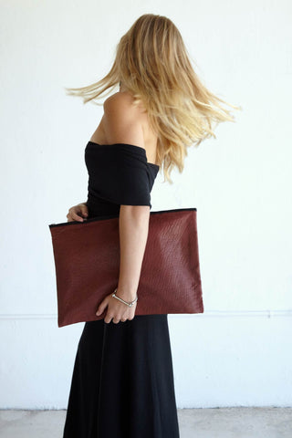 Textured Oxblood Leather Editor Clutch