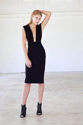 Overall Dress - Black Crepe