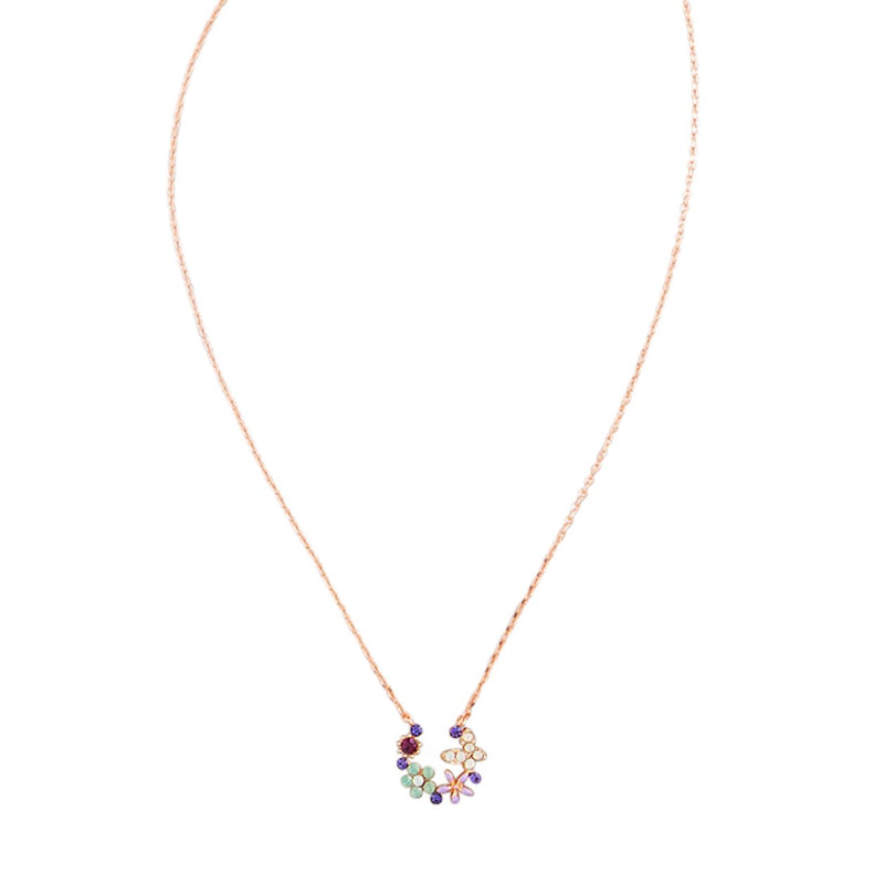 Tiger Tree night crystal garden rose gold flower necklace