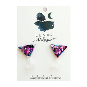 Lunar glitter Studs | Purple & Blue Martini Glasses