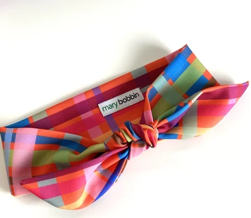 Mary Bobbin | Tangerine Check Hair Tie - with wire