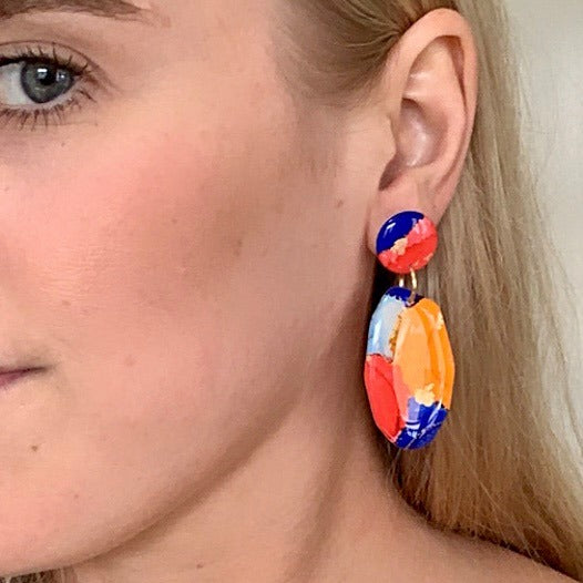 Simply Alfie | Small Geo Dangles - Blue and Red