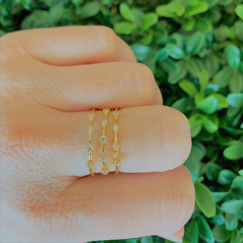 Tiger Tree | gold triple row crystals
