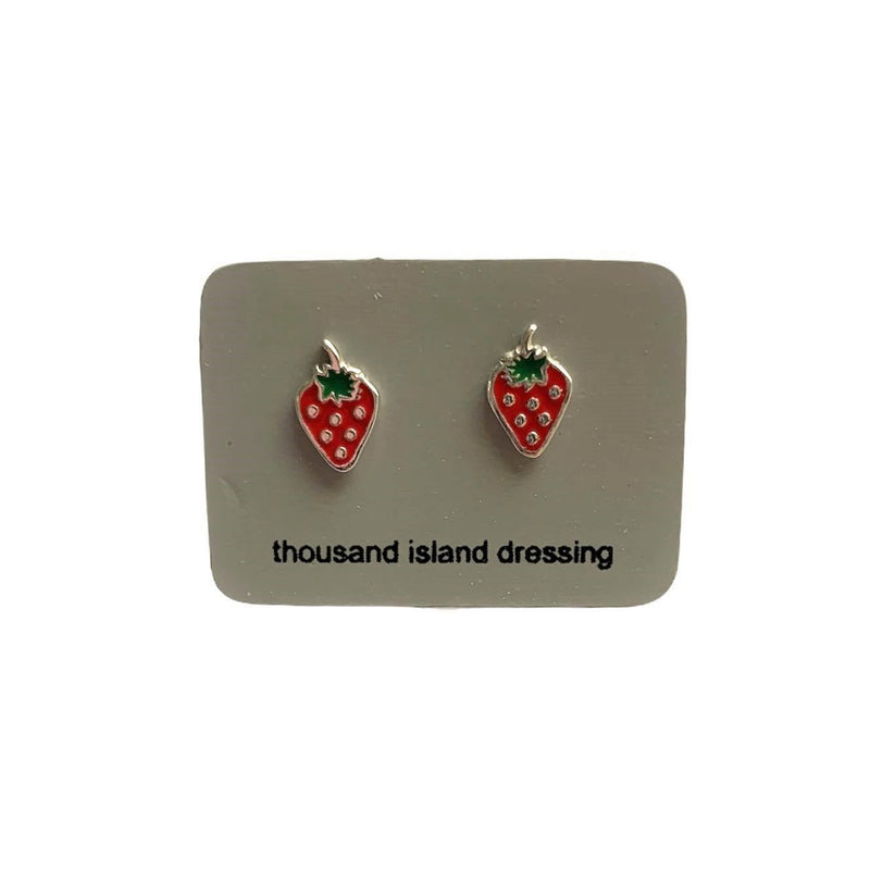 TID | sterling silver enamel strawberries