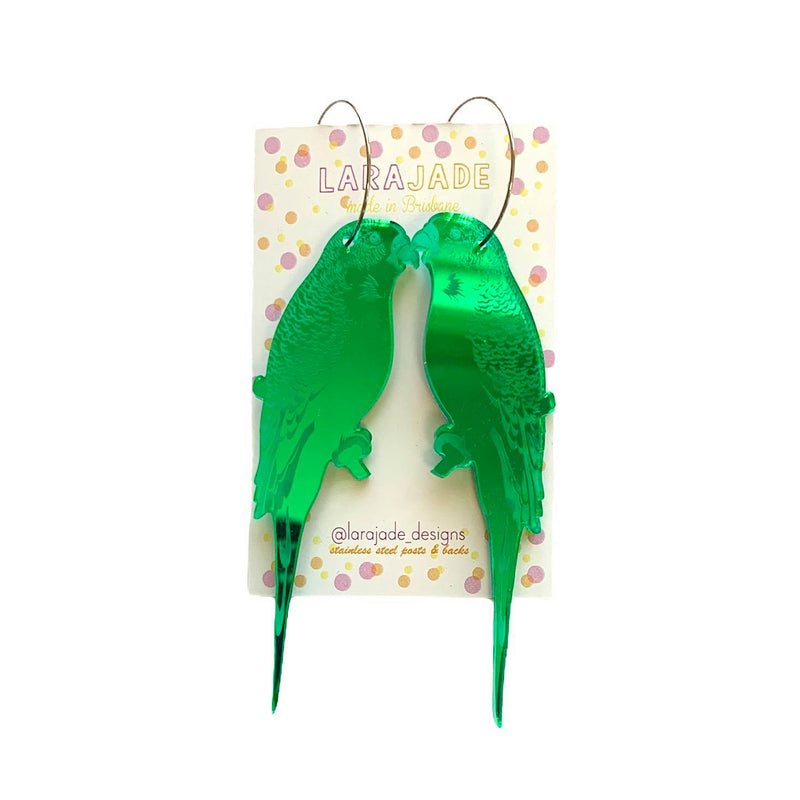 Lara Jade Earrings | Green Budgie Hoops
