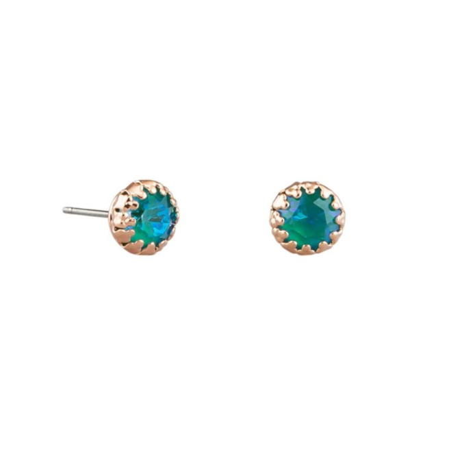 Tiger Tree | Green Peacock Crystal Studs