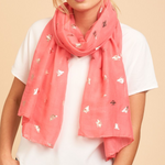 Tiger Tree Coral Buzzing Foil Scarf