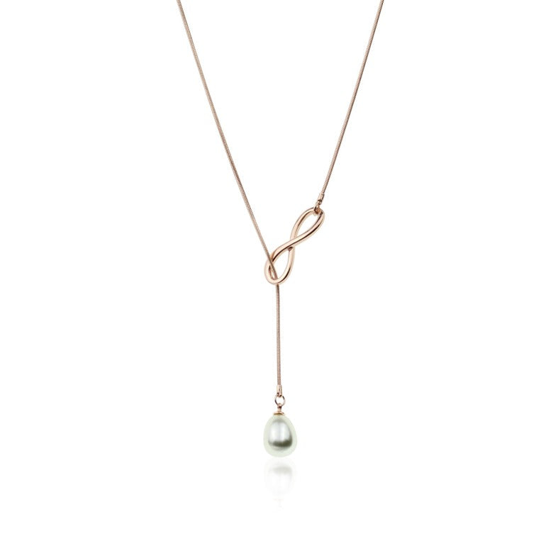 TID rose gold figure 8 infinity necklace