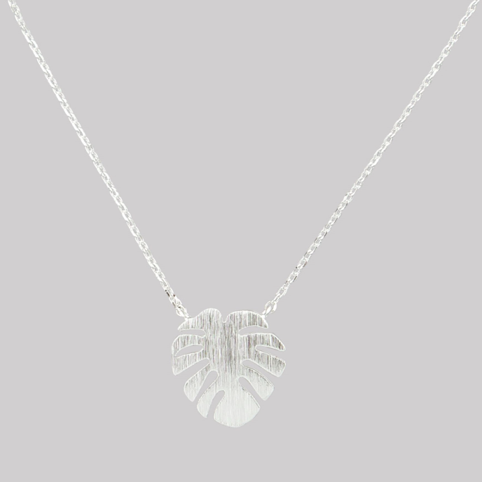 Tiger Tree silver monstera leaf necklace