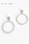 Adorne | Diamante CLIP ON Silver Hoops