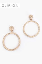 Adorne | Diamante CLIP ON Gold Hoops