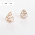 Adorne | CLIP ON Diamante Teardrop White Gold