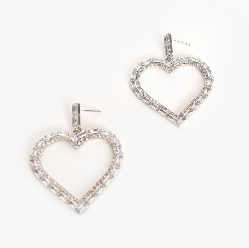 Adorne | Heart Diamante Drop Earrings