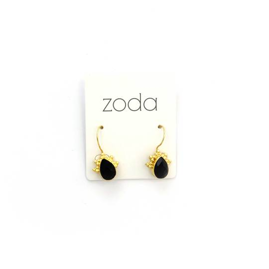 Zoda Faceted Drops | black & gold
