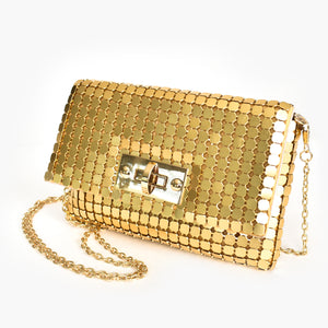 Adorne | Large Chain Mesh Toggle Front Clutch