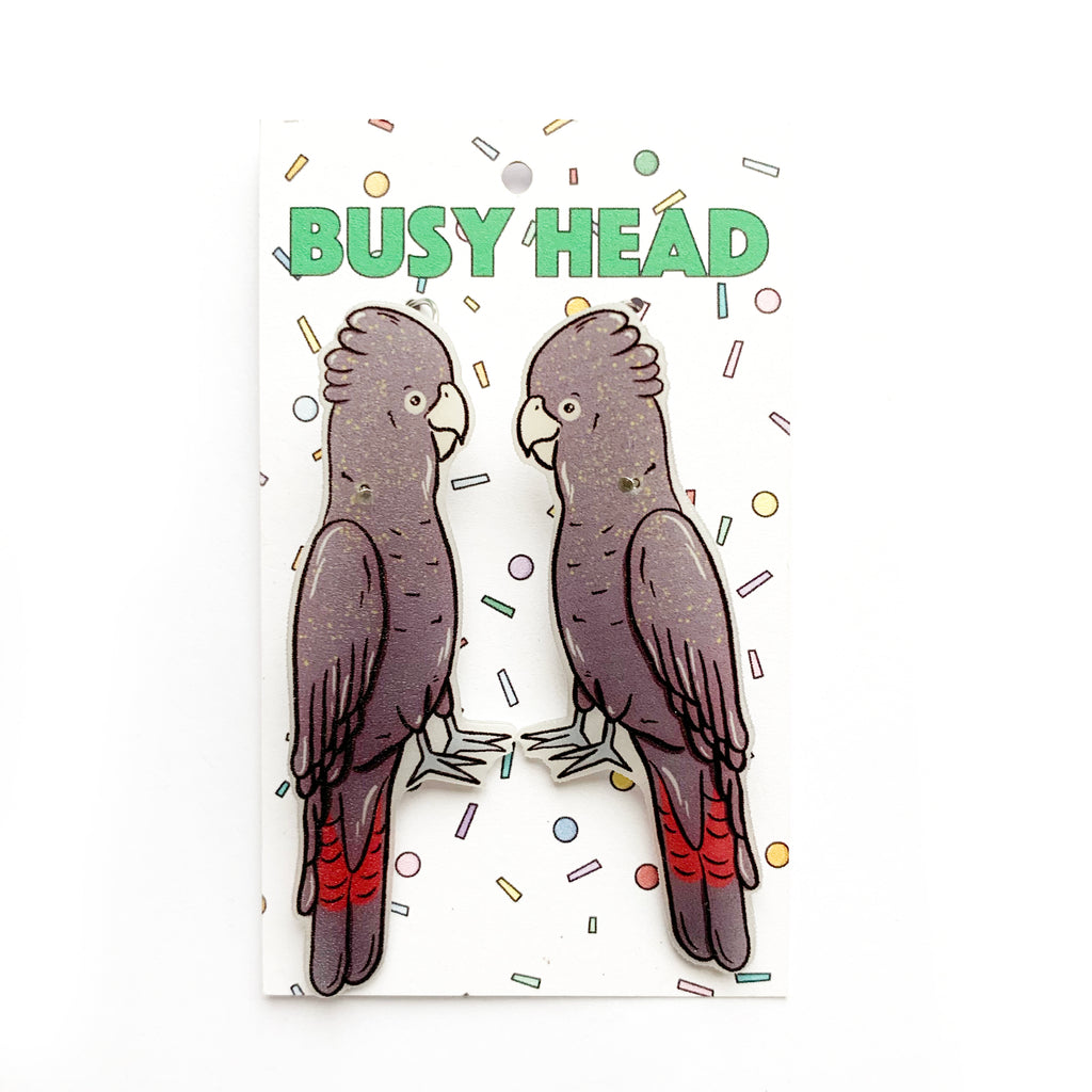 Busy Head Black Cockatoo Earrings