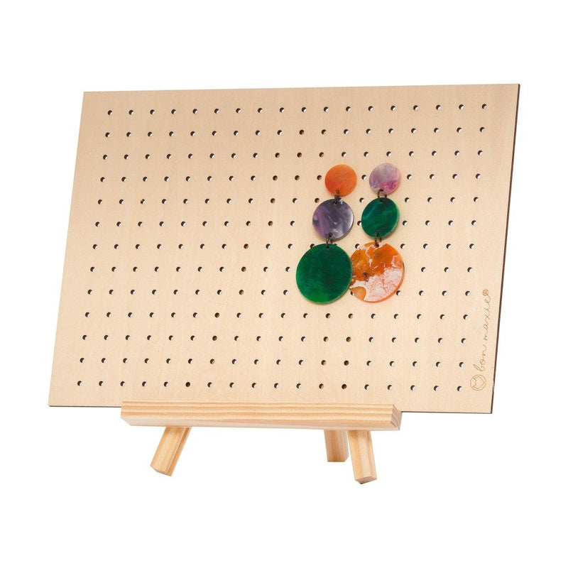 Bon Maxie | Earring Holder on Stand - Natural Wood - Mid