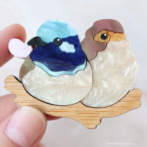 Eliza Rose | Fairy Wren Couple Brooch