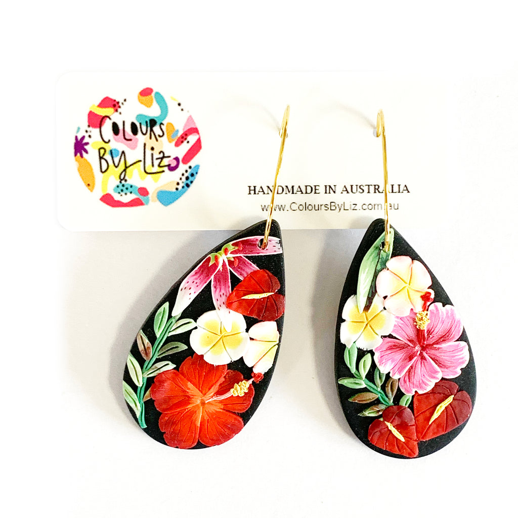 Colours By Liz Black floral Statement drops | Teardrops