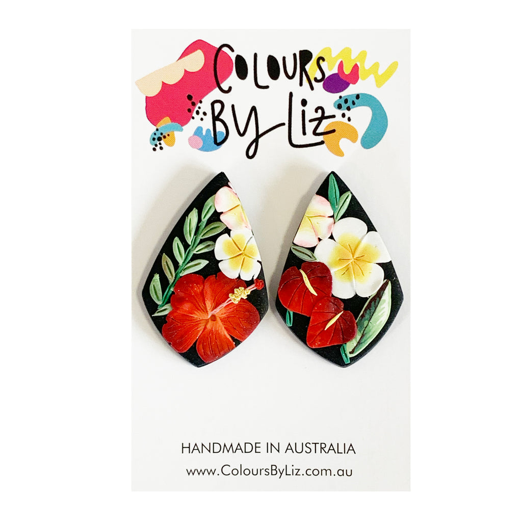 Colours By Liz Black floral Statement studs | Teardrop