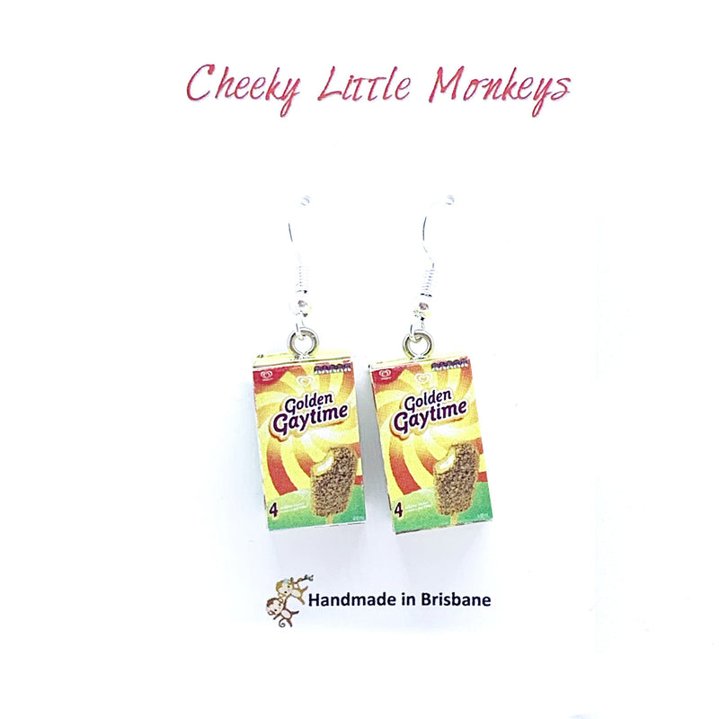 Cheeky Little Monkeys - Golden Gaytime Earrings