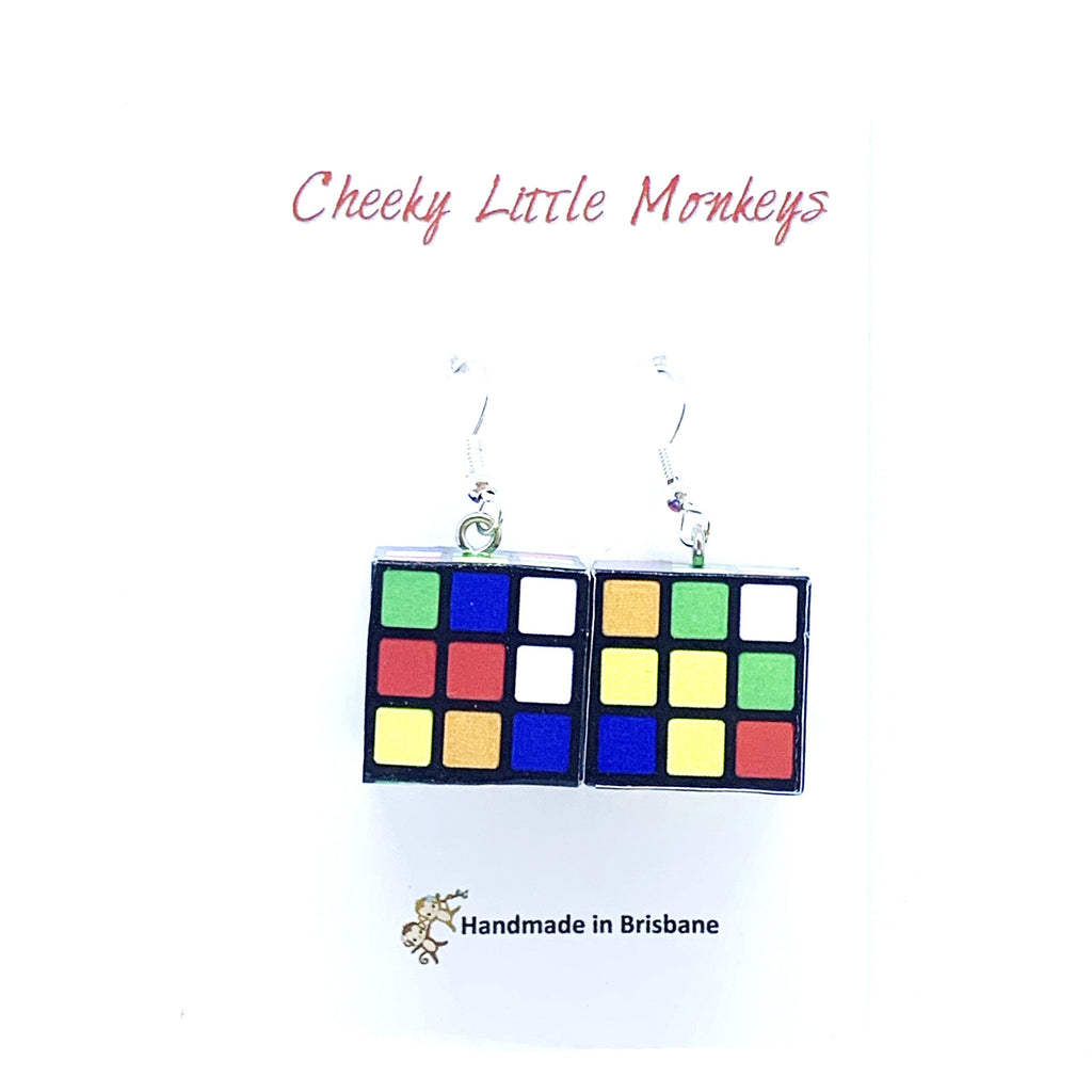 Cheeky Little Monkeys - Rubiks Cube Earrings