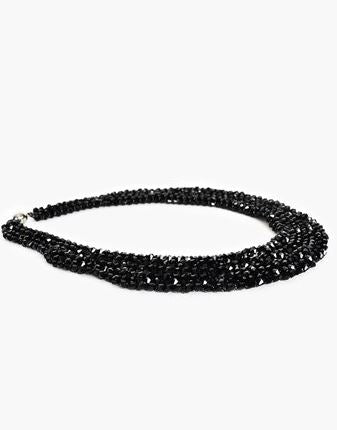 Adorne | Crystal Black Cuff Magnetic collar necklace