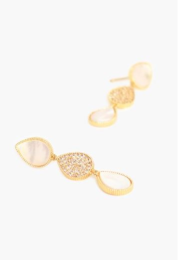 Adorne | Shell Cubic Zirconia Tri Drop Earrings Cream Gold