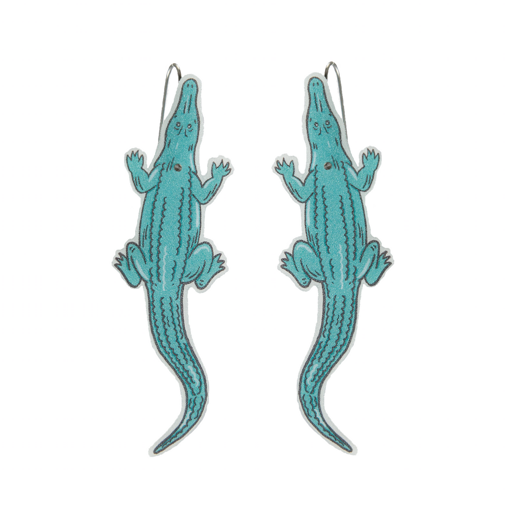 Busy Head Crocodile Earrings