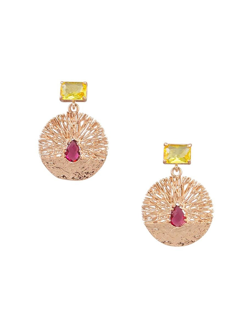 Tiger Tree Crystal nest studs | Rose Gold