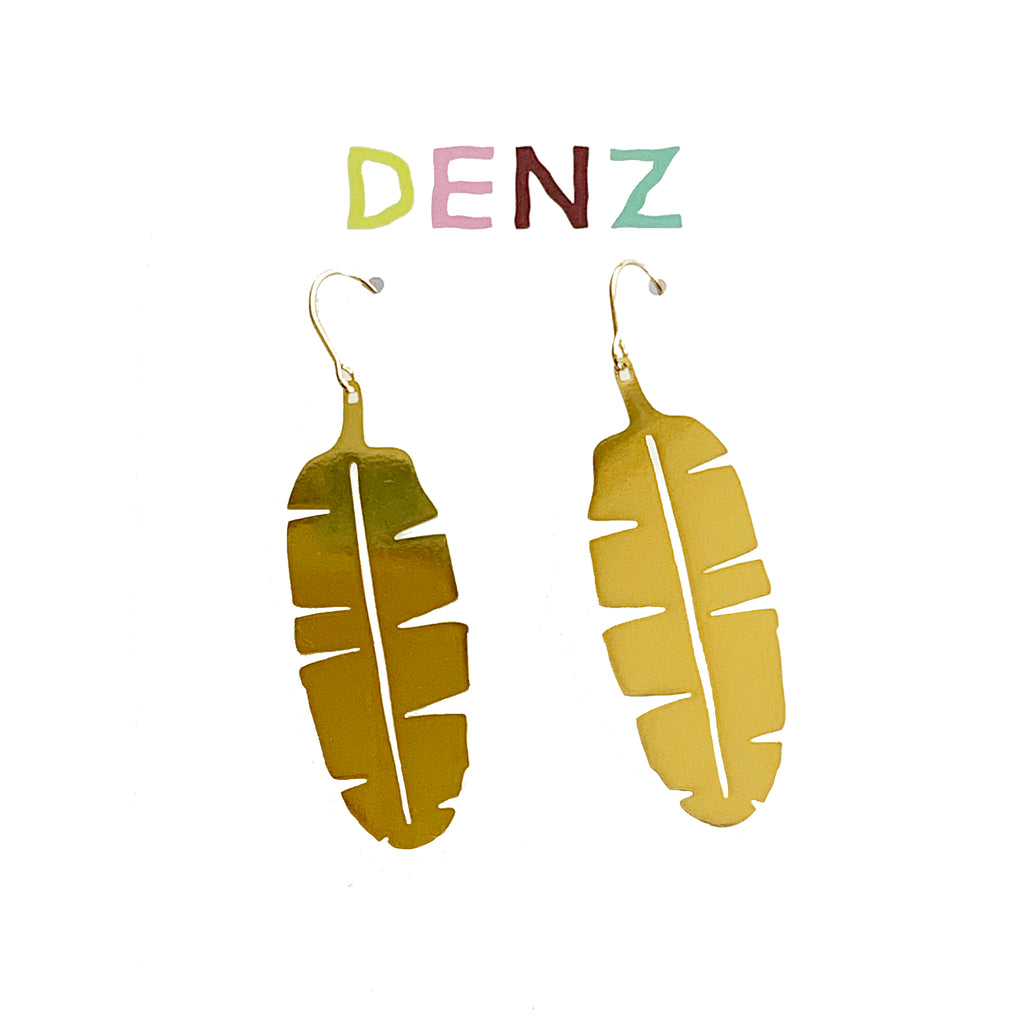DENZ Feather Dangles | Gold