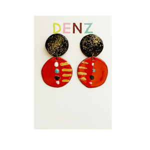 DENZ Enamel round drops | black red multi